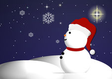 Snowman and starry night sky. Illustration of Christmas snowman on snowy landscape under starry night sky stock illustration