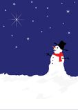 Snowman and stars Stock Image