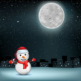 Snowman stars moon sity. The snowman in Santa hat on night city and stars with Moon background. Christmas holiday celebration Stock Photos