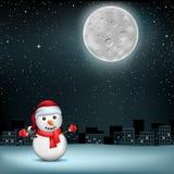 Snowman stars moon sity Stock Photos