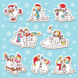 Snowman stickers. Vector illustration. Stock Images