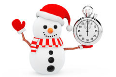Snowman with Stopwatch Royalty Free Stock Photo