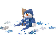 Snowman, stuffed toy. Snowman and snowflakes on a white background Stock Photo