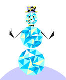 Snowman in the style of the polygon. Winter character in the cla. Ssic bowler hat Stock Image