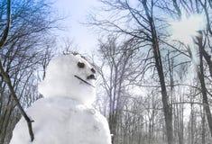 Snowman with sun Stock Photography