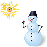 Snowman and sun. Royalty Free Stock Image