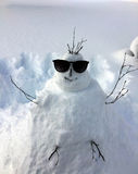 Snowman with Sunglasses Royalty Free Stock Photography