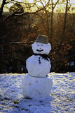 Snowman at sunrise Stock Photography