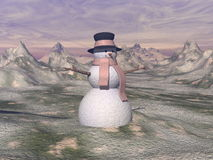 Snowman by sunset - 3D render Royalty Free Stock Image