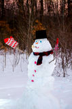 Snowman at sunset in the woods stock photo