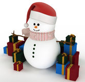 Snowman surrounded by gift boxes Stock Image