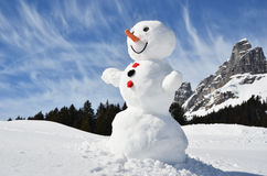 Snowman in the Swiss Alps Stock Photos