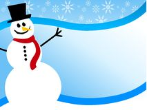 Snowman Swoosh Background. An illustration featuring a smiling snowman sitting in the snow against blue background swoosh with ample room for extra content Stock Photography