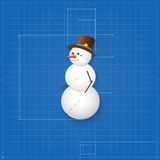 Snowman symbol drawn as blueprint. Stock Photos