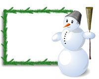Snowman and table. Snowman and white table and white background and green twigs Stock Photos