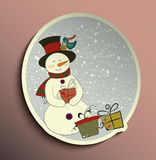 Snowman tag Stock Photo