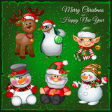 Snowman and team on a green background Royalty Free Stock Images