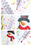 Snowman thermometer collage Royalty Free Stock Photos