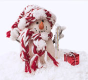 Snowman with the thermometer Stock Images