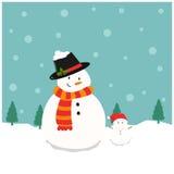 Snowman and Tiny Snowman. Vector illustration of a snowman and tiny snowman on snowfall background royalty free illustration