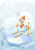 Snowman to ski (vector) Royalty Free Stock Photo
