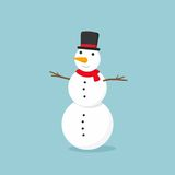 Snowman with top hat on blue background. Vector illustration Royalty Free Stock Photography
