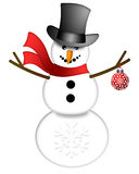 Snowman with Top Hat Isolated on White Background Stock Image