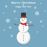 Snowman with top hat and Snowflakes on blue background Royalty Free Stock Images