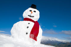 Snowman On A Top Of The Mountain Stock Image