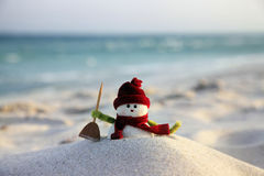 Snowman. Toy of the snowman on beach background royalty free stock image