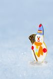 Snowman toy on the bokeh winter Stock Photography