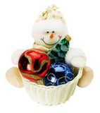 Snowman toy with Christmas balls isolated on the white backgroun Stock Photography