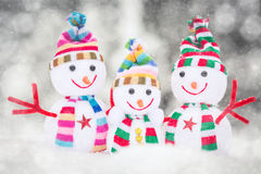 Snowman Toy Family. Winter Outdoors Royalty Free Stock Image