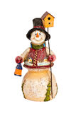 Snowman toy figure holding lamp. Snowman toy figurine holding a lamp and birdhouse Royalty Free Stock Photo