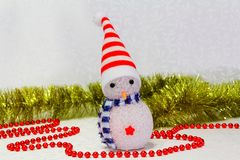 Snowman toy. On the white background Royalty Free Stock Images