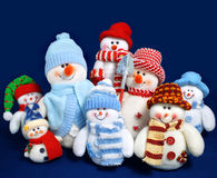 Snowman toys family isolated Royalty Free Stock Photography
