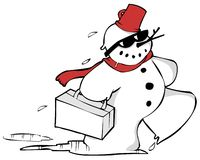 Snowman travelling south. With his suitcase Royalty Free Stock Photography