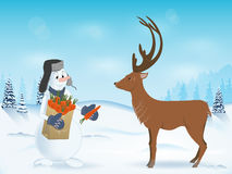 Snowman treats deer. Snowman treats reindeer a carrot. the package in his hands. hat with ear-flaps. winter landscape. scenic. vector illustration. pattern Stock Photos