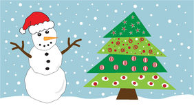 Snowman and Tree Royalty Free Stock Photo