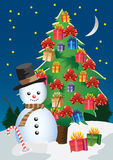 Snowman and tree Royalty Free Stock Images