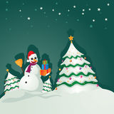 Snowman and tree copy. Happy snowman and white tree Stock Image