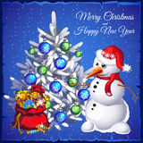 Snowman with tree and red sack with gifts Stock Photography