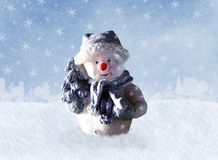 Snowman with Christmas tree Stock Photos