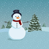 Snowman and trees Royalty Free Stock Image