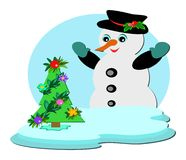 Snowman with Tropical Christmas Tree Stock Image