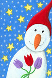Snowman with tulips royalty free illustration