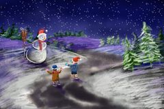 Snowman with two kids. Winter, Christmas - snowman with two children happy new year Stock Photo