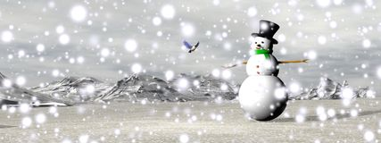 Snowman under the snow - 3D render Stock Photography