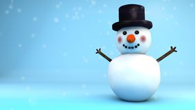 Snowman under the snow that wishes us a happy Christmas, with copyspace royalty free illustration