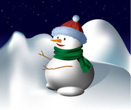 Snowman Under the Stars Royalty Free Stock Photos